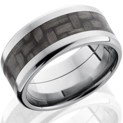 Style 103590: Titanium 10mm Beveled Band with 5mm of Carbon Fiber