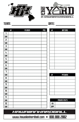 HAWAIIANHARDBALL BASEBALL/SOFTBALL 4-PART LINEUP CARDS