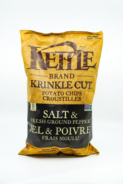 Kettle Brand Krinkle Cut Potato Chips Sea Salt + Black Pepper