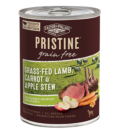 Castor + Pollux Pristine Dog Grain Free Grass Fed Lamb Carrot + Apple Recipe