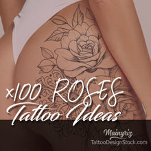 Load image into Gallery viewer, selection of hundreds roses tattoo designs ideas