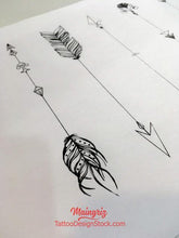 Load image into Gallery viewer, sexy arrows with feathers tattoo ideas references