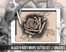 Load image into Gallery viewer, 10 brushes specially designed for Black and Grey whipe tattoo shading for procreate app