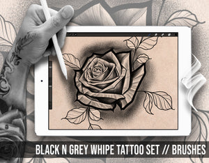 10 brushes specially designed for Black and Grey whipe tattoo shading for procreate app