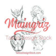 Load image into Gallery viewer, cherub sleeve tattoo design high resolution download by tattoodesignstock.com