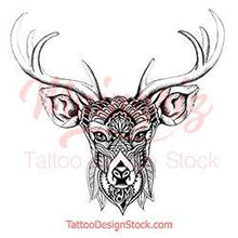 Load image into Gallery viewer, original deer mandala half sleeve tattoo design references created by tattoo artist