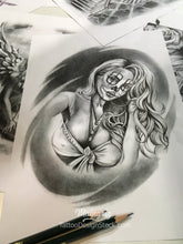 Load image into Gallery viewer, chicano clown girl face tattoo design high resolution download