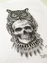 Load image into Gallery viewer, original owl and skull tattoo in black and grey style in instant download