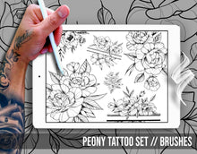 Load image into Gallery viewer, Peony Tattoo Set Brushes for Procreate application