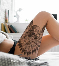 Load image into Gallery viewer, original sexy indian skull tattoo for lady in instant download