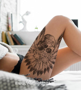 original sexy indian skull tattoo for lady in instant download