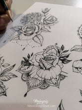 Load image into Gallery viewer, selection of thousands sexy roses tattoo designs created by artist