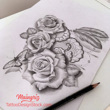 Load image into Gallery viewer, lace rose and feather sleeve tattoo design in high resolution download
