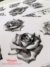 Load image into Gallery viewer, rose for shoulder tattoo design in high resolution download references