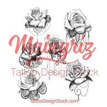 Load image into Gallery viewer, sexy rose and lace for sleeve tattoo created by tattoo artist