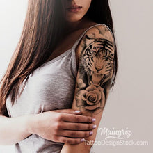 Load image into Gallery viewer, realistic tiger and roses sleeve tattoo design references created by tattoo artist