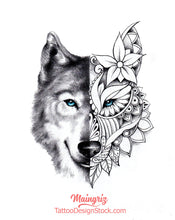 Load image into Gallery viewer,  mandala wolf sexy sleeve tattoo design references created by tattoo artist