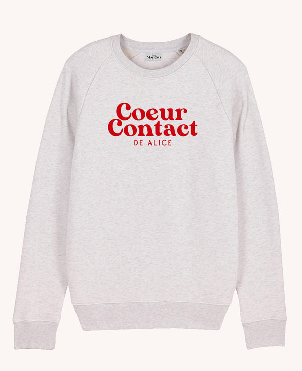 Sweat homme coeur contact personnalisable