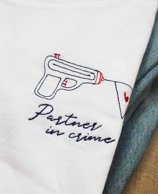 T-shirt homme brodé Partner in crime