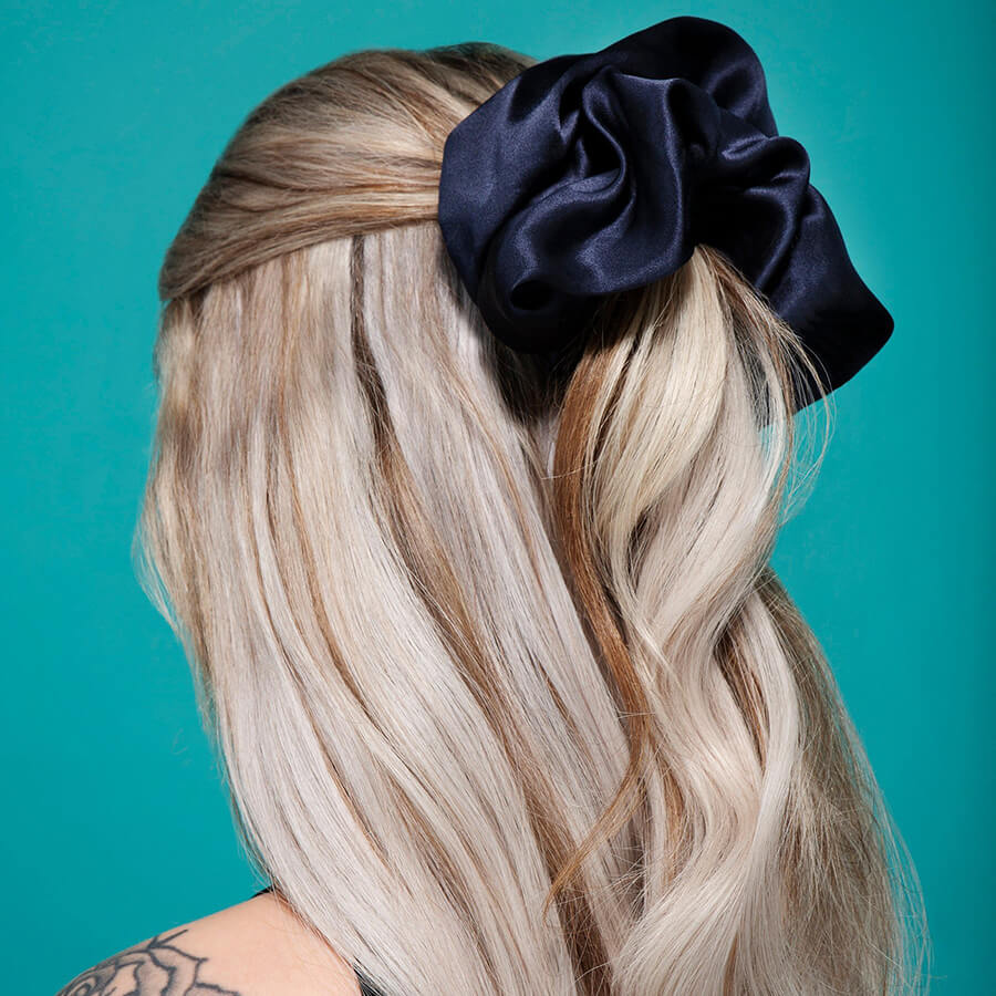 Giant Luxurious 100% Silk Hair Scrunchy ROYALTY / BLUE XL/XXL Image 2