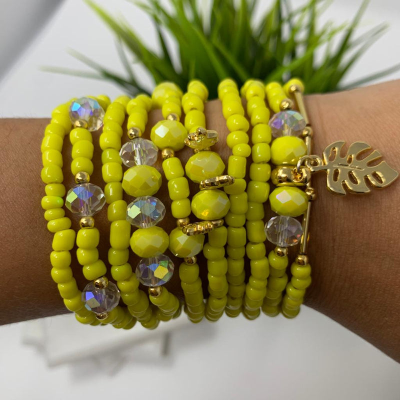 Yellow Bracelets set of 10