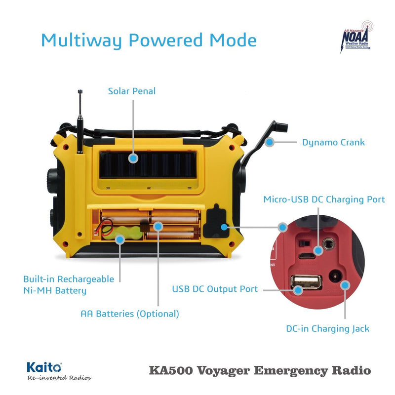 KA500, 5-Way Powered Emergency AM-FM-SW NOAA