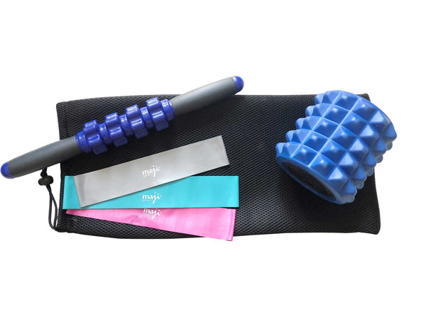 Muscle Recovery Bundle with Mini Foam Roller and Resistance Bands - Wellness Temple