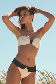 Capri - Bandeau bikini with flap bottom - Cream