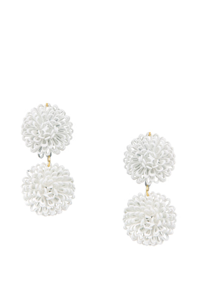 Double PomPom Earrings - White