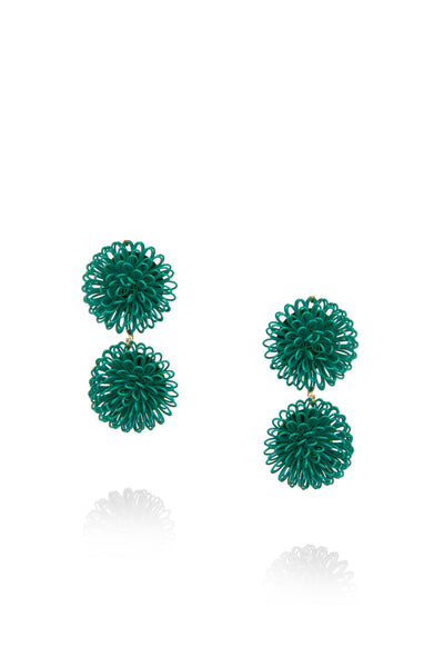 Double PomPom Earrings - Green