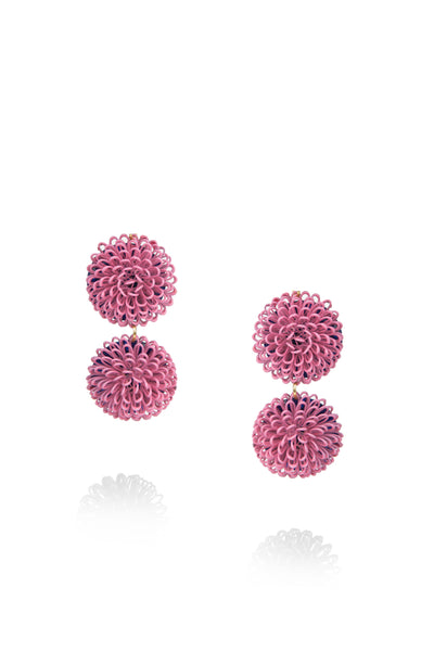 Double PomPom Earrings -Pink