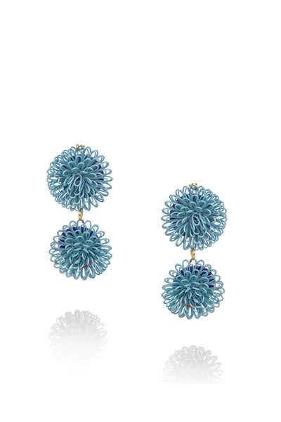 Double PomPom Earrings - Light Blue