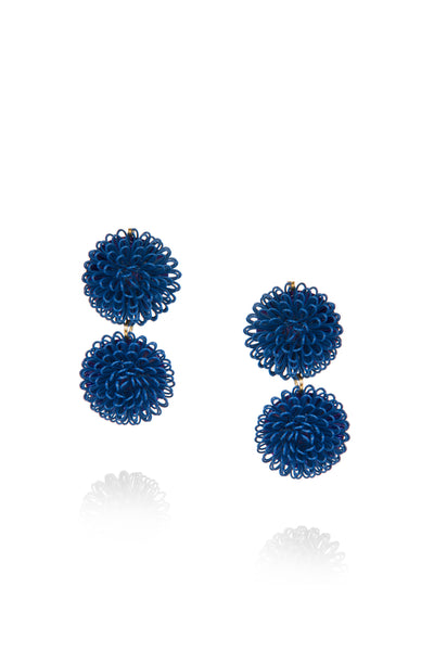 Double PomPom Earrings - Dark Blue