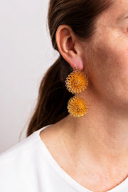 Double PomPom Earrings - Gold