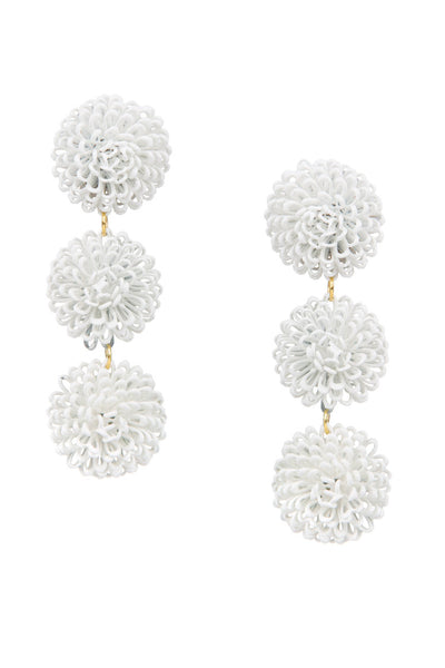 PomPom Earrings - White