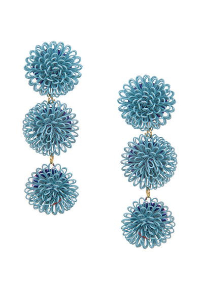 PomPom Earrings - Light Blue