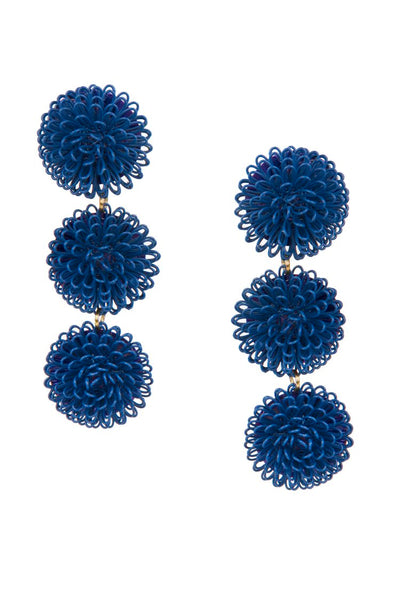 PomPom Earrings - Dark Blue