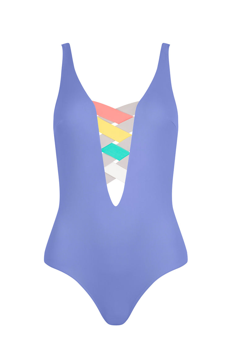 St.Martin - Bandage colour block one piece - Blue Violet