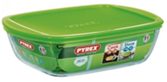PYREX RECTANGULAR DISH WITH PLASTIC LID 1.1l - 23x15x6