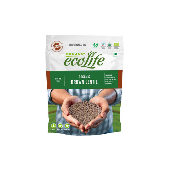 ECOLIFE ORGANIC BROWN LENTIL WHOLE 500G
