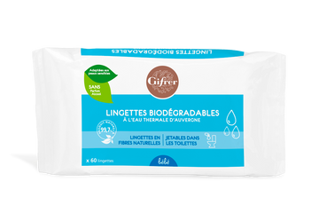 GIFRER LINGETTES EAU THERMALE BEBE (BIODEGRADABLES) x 60