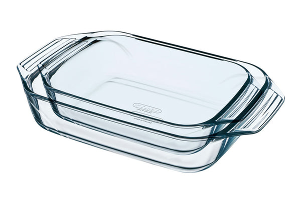 PYREX OPTIMUM SET  - 2 RECTANGULAR ROASTERS WITH HANDLE (35X23 + 39X25)