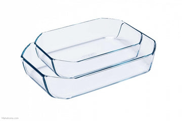 PYREX SET OF 2 RECTANGULAR ROASTERS, 33X22cm (3.2lL) & 30X20cm (2.6L)
