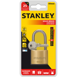 STANLEY LOCK SOLID BRASS LONG SH 40