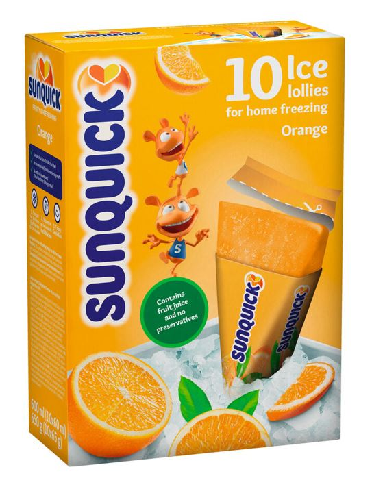 SUNQUICK ICE LOLLIES 10*60ML - ORANGE