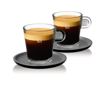 NESPRESSO VIEW LUNGO CUPS & BLACK SAUCERS (SET OF 2) (END OF COLLECTION)