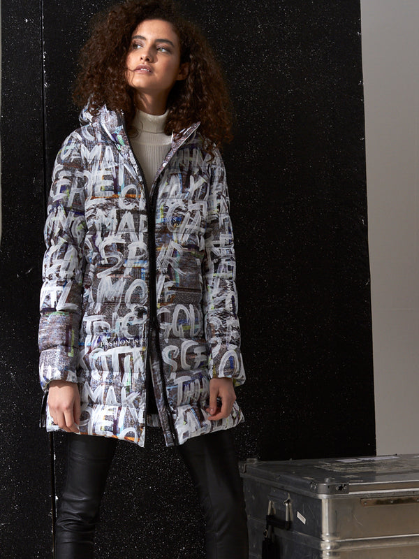 Jacke mit Allover-Print in Graffiti-Optik mit Kapuze