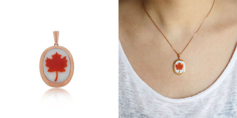 Canada Day Jewelry Maple Leaf Cameo