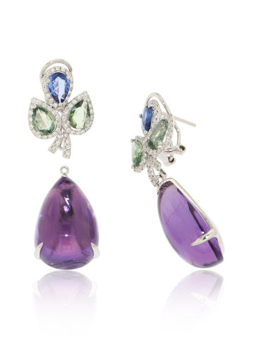 Amethyst Drop Earrings, Gemstones, Blue Green Sapphires