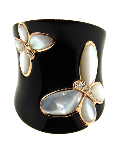 Black Agate Ring, Mother of Pearl Butterfly, Diamonds, Rose Gold